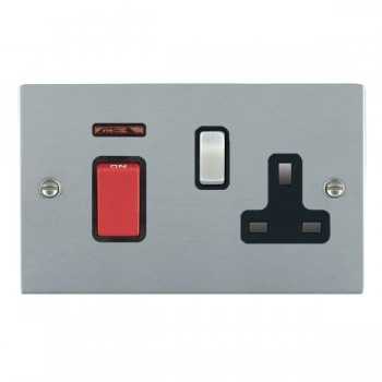 Hamilton Sheer Satin Chrome 1 Gang Double Pole 45A Red Rocker + 13A Switched Socket with Black Insert
