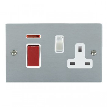 Hamilton Sheer Satin Chrome 1 Gang Double Pole 45A Red Rocker + 13A Switched Socket with White Insert