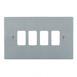 Hamilton Sheer Grid Satin Chrome 4 Gang Grid Fix Aperture Plate with Grid