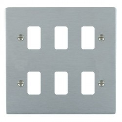 Hamilton Sheer Grid Satin Chrome 6 Gang Grid Fix Aperture Plate with Grid