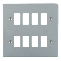 Hamilton Sheer Grid Satin Chrome 8 Gang Grid Fix Aperture Plate with Grid