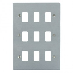 Hamilton Sheer Grid Satin Chrome 9 Gang Grid Fix Aperture Plate with Grid