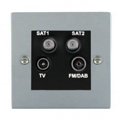 Hamilton Sheer Satin Chrome TV+FM+SAT+SAT (DAB Compatible) with Black Insert