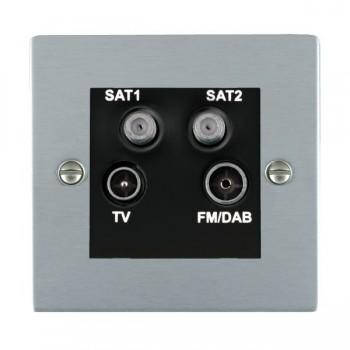 Hamilton Sheer Satin Chrome TV+FM+SAT+SAT (DAB Compatible) with Black Insert