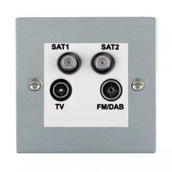 Hamilton Sheer Satin Chrome TV+FM+SAT+SAT (DAB Compatible) with White Insert