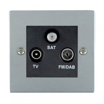 Hamilton Sheer Satin Chrome TV+FM+SAT (DAB Compatible) with Black Insert