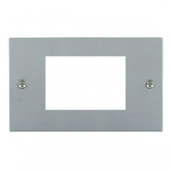 Hamilton Sheer EuroFix Plates Satin Chrome Double Plate c/w 3 EuroFix Apertures + Grid