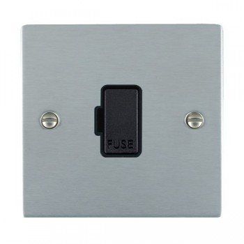 Hamilton Sheer Satin Chrome 1 Gang 13A Fuse Only with Black Insert
