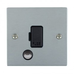 Hamilton Sheer Satin Chrome 1 Gang 13A Fuse + Cable Outlet with Black Insert