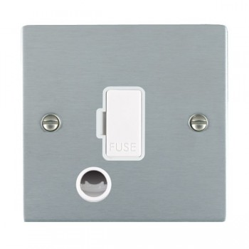 Hamilton Sheer Satin Chrome 1 Gang 13A Fuse + Cable Outlet with White Insert