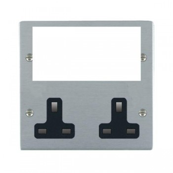 Hamilton Sheer Media Plates Satin Chrome Media Plate containing 2 Gang 13A Unswitched Socket + EURO4 aperture with Black Insert