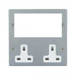 Hamilton Sheer Media Plates Satin Chrome Media Plate containing 2 Gang 13A Unswitched Socket + EURO4 aperture with White Insert