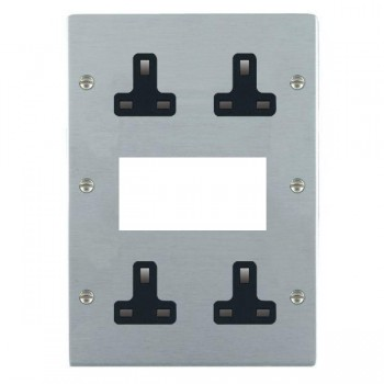 Hamilton Sheer Satin Chrome Media Plate containing 2 Gang 13A Unswitched Socket, 2 Gang 13A Unswitched Socket, EURO4 aperture with Black Insert