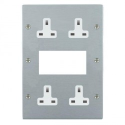 Hamilton Sheer Satin Chrome Media Plate containing 2 Gang 13A Unswitched Socket, 2 Gang 13A Unswitched Socket, EURO4 aperture with White Insert