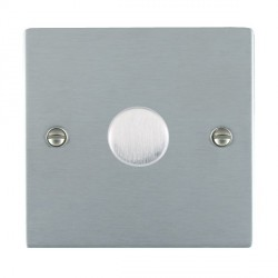 Hamilton Sheer Satin Chrome Push On/Off 200VA Dimmer 1 Gang 2 way Inductive with Satin Chrome Insert