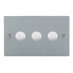 Hamilton Sheer Satin Chrome Push On/Off Dimmer 3 Gang Multi-way 250W/VA Trailing Edge with Satin Chrome Insert