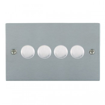 Hamilton Sheer Satin Chrome Push On/Off 400W Dimmer 4 Gang 2 way with Satin Chrome Insert