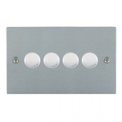 Hamilton Sheer Satin Chrome Push On/Off Dimmer 4 Gang Multi-way 250W/VA Trailing Edge with Satin Chrome Insert