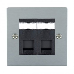 Hamilton Sheer Satin Chrome 2 Gang RJ45 Outlet Cat 5e Unshielded with Black Insert