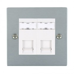Hamilton Sheer Satin Chrome 2 Gang RJ45 Outlet Cat 5e Unshielded with White Insert