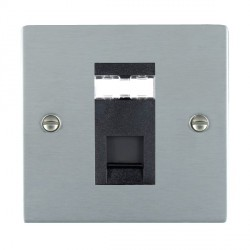Hamilton Sheer Satin Chrome 1 Gang RJ45 Outlet Cat 5e Unshielded with Black Insert