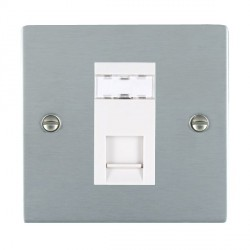 Hamilton Sheer Satin Chrome 1 Gang RJ45 Outlet Cat 5e Unshielded with White Insert