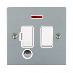 Hamilton Sheer Satin Chrome 1 Gang 13A Fused Spur, Double Pole + Neon + Cable Outlet with White Insert