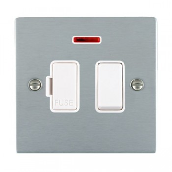 Hamilton Sheer Satin Chrome 1 Gang 13A Fused Spur, Double Pole + Neon with White Insert