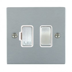 Hamilton Sheer Satin Chrome 1 Gang 13A Fused Spur, Double Pole with White Insert