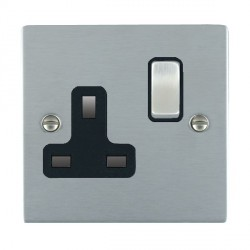 Hamilton Sheer Satin Chrome 1 Gang 13A Switched Socket - Double Pole with Black Insert