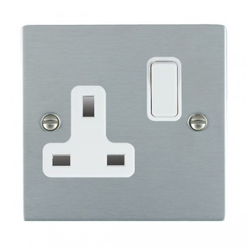 Hamilton Sheer Satin Chrome 1 Gang 13A Switched Socket - Double Pole with White Insert