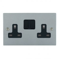Hamilton Sheer Satin Chrome 2 Gang 13A Switched Socket - Double Pole with Black Insert