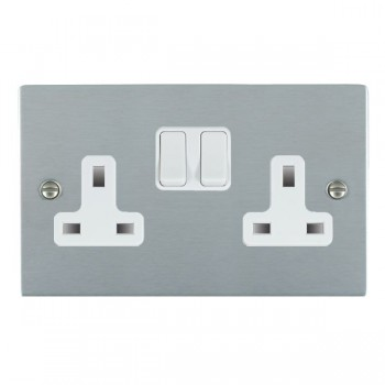 Hamilton Sheer Satin Chrome 2 Gang 13A Switched Socket - Double Pole with White Insert