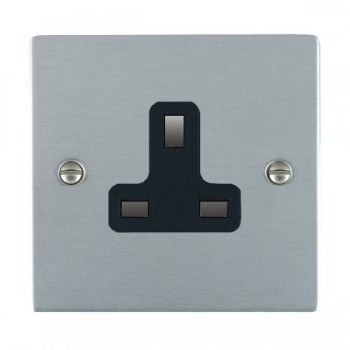 Hamilton Sheer Satin Chrome 1 Gang 13A Unswitched Socket with Black Insert