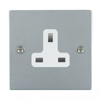 Hamilton Sheer Satin Chrome 1 Gang 13A Unswitched Socket with White Insert