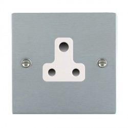 Hamilton Sheer Satin Chrome 1 Gang 5A Unswitched Socket with White Insert