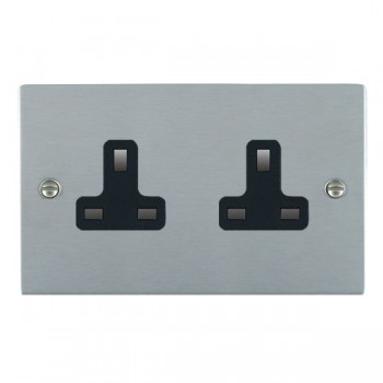 Hamilton Sheer Satin Chrome 2 Gang 13A Unswitched Socket with Black Insert