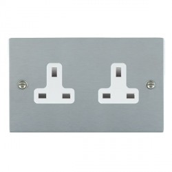 Hamilton Sheer Satin Chrome 2 Gang 13A Unswitched Socket with White Insert