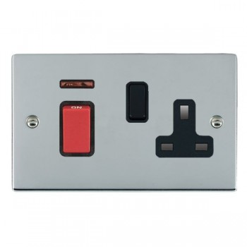 Hamilton Sheer Bright Chrome 1 Gang Double Pole 45A Red Rocker + 13A Switched Socket with Black Insert