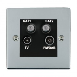 Hamilton Sheer Bright Chrome TV+FM+SAT+SAT (DAB Compatible) with Black Insert