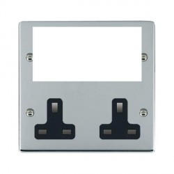 Hamilton Sheer Media Plates Bright Chrome Media Plate containing 2 Gang 13A Unswitched Socket + EURO4 aperture with Black Insert