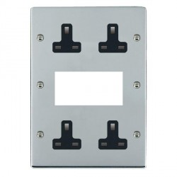 Hamilton Sheer Bright Chrome Media Plate containing 2 Gang 13A Unswitched Socket, 2 Gang 13A Unswitched Socket, EURO4 aperture with Black Insert