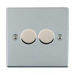 Hamilton Sheer Bright Chrome Push On/Off 400W Dimmer 2 Gang 2 way with Bright Chrome Insert