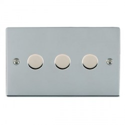 Hamilton Sheer Bright Chrome Push On/Off 400W Dimmer 3 Gang 2 way with Bright Chrome Insert