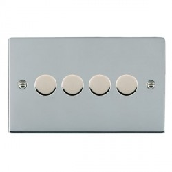 Hamilton Sheer Bright Chrome Push On/Off 400W Dimmer 4 Gang 2 way with Bright Chrome Insert