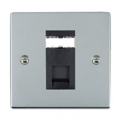 Hamilton Sheer Bright Chrome 1 Gang RJ45 Outlet Cat 5e Unshielded with Black Insert