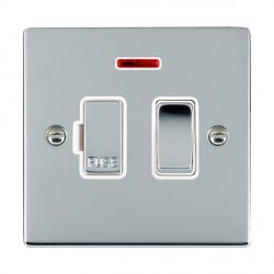Hamilton Sheer Bright Chrome 1 Gang 13A Fused Spur, Double Pole + Neon with White Insert