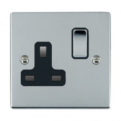 Hamilton Sheer Bright Chrome 1 Gang 13A Switched Socket - Double Pole with Black Insert