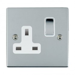 Hamilton Sheer Bright Chrome 1 Gang 13A Switched Socket - Double Pole with White Insert