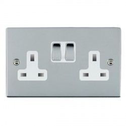 Hamilton Sheer Bright Chrome 2 Gang 13A Switched Socket - Double Pole with White Insert